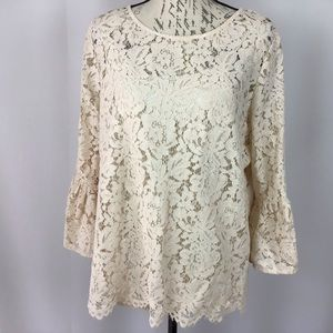 Roz & Ali lace blouse with bell sleeves